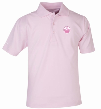 Edmonton Oilers YOUTH Unisex Pique Polo Shirt (Color: Pink)