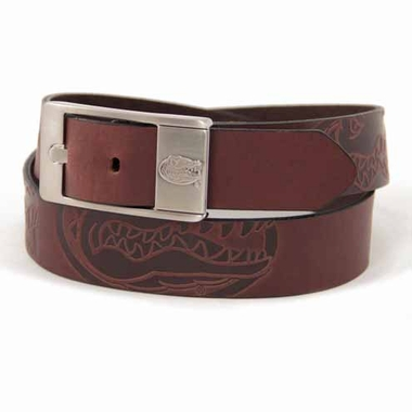 Florida Brown Leather Brandished Belt