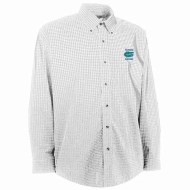 Florida Mens Esteem Check Pattern Button Down Dress Shirt (Color: White)
