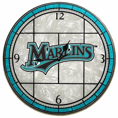 Florida Marlins Art Glass Clock