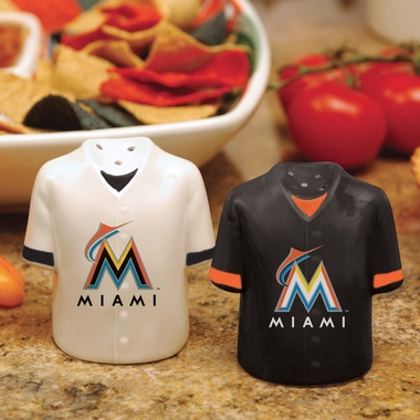 Miami Marlins Ceramic Jersey Salt and Pepper Shakers