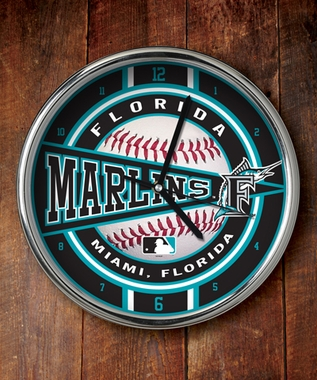 Florida Marlins Chrome Clock