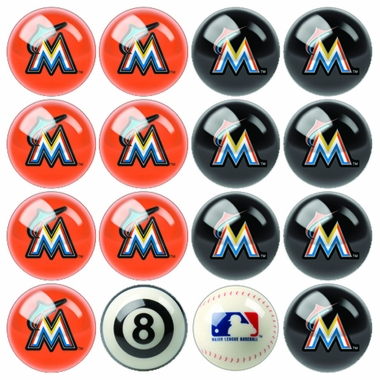 Miami Marlins Home and Away Complete Billiard Ball Set