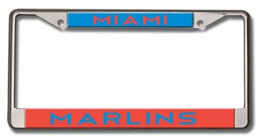 Miami Marlins Laser Etched Chrome License Plate Frame