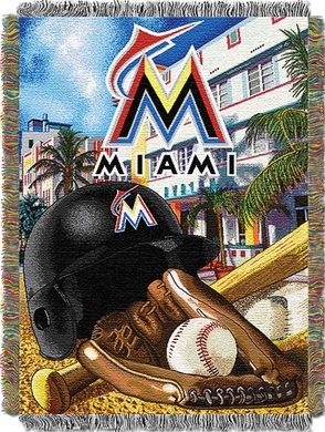 Miami Marlins Woven Tapestry Blanket