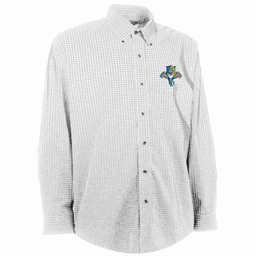 Florida Panthers Mens Esteem Check Pattern Button Down Dress Shirt (Color: White)
