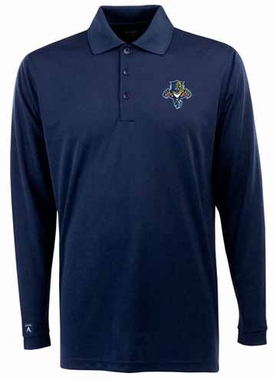 Florida Panthers Mens Long Sleeve Polo Shirt (Team Color: Navy)