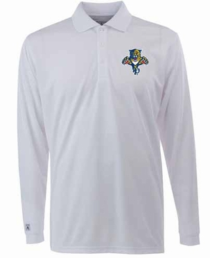 Florida Panthers Mens Long Sleeve Polo Shirt (Color: White)