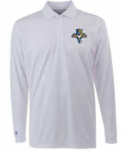 Florida Panthers Mens Long Sleeve Polo Shirt (Color: White) - Large