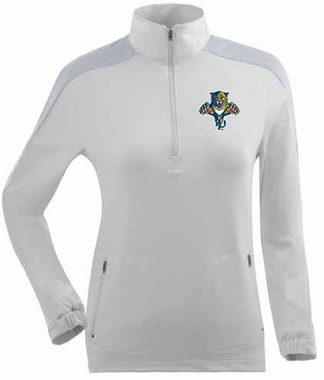 Florida Panthers Womens Succeed 1/4 Zip Performance Pullover (Color: White)