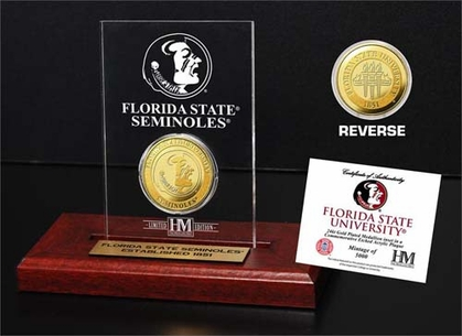 Florida State Seminoles Florida State University 24KT Gold Coin Etched Acrylic