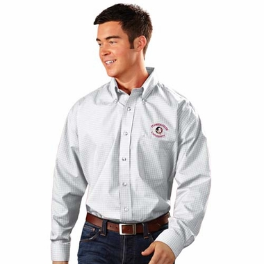 Florida State Mens Esteem Check Pattern Button Down Dress Shirt (Color: White)