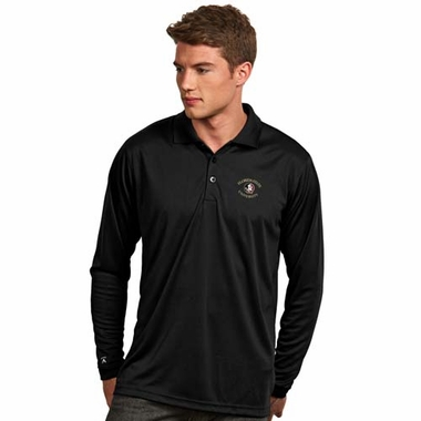 Florida State Mens Long Sleeve Polo Shirt (Color: Black)