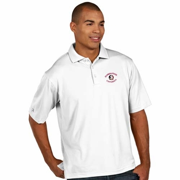 Florida State Mens Pique Xtra Lite Polo Shirt (Color: White)