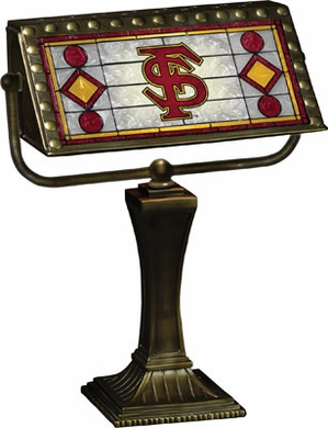 Florida State Stained Glass Bankers Lamp