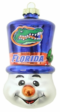 Florida Tophat Snowman Glass Ornament