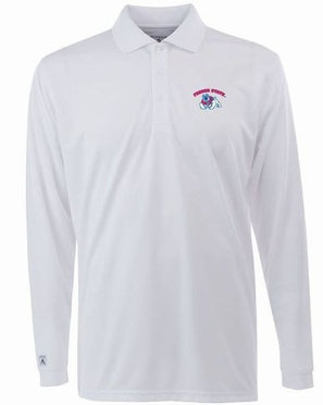Fresno State Mens Long Sleeve Polo Shirt (Color: White)