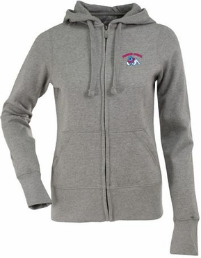 Fresno State Womens Zip Front Hoody Sweatshirt (Color: Gray)