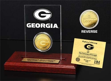 Georgia Bulldogs University of Georgia 24KT Gold Coin Etched Acrylic