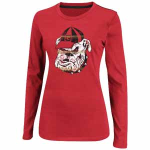"Georgia Bulldogs Women's Majestic ""State Colors"" Long Sleeve Shirt - Large"