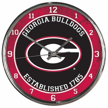 Georgia Bulldogs Round Chrome Wall Clock