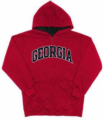 Georgia Embroidered Full-Zip Hooded Sweatshirt (Team Color)