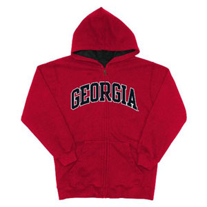 Georgia Embroidered Full-Zip Hooded Sweatshirt (Team Color) - Large