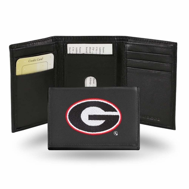 Georgia Embroidered Leather Tri-Fold Wallet