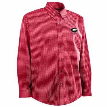 Georgia Mens Esteem Button Down Dress Shirt (Team Color: Red)