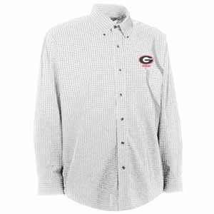 Georgia Mens Esteem Check Pattern Button Down Dress Shirt (Color: White) - Medium