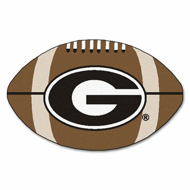"Georgia ""G"" Football Shaped Rug"