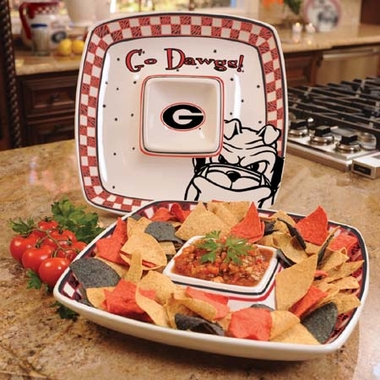 Georgia Gameday Ceramic Chip and Dip Platter