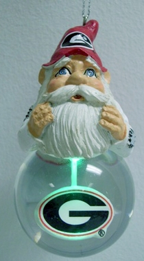 Georgia Light Up Gnome Snow Globe Ornament