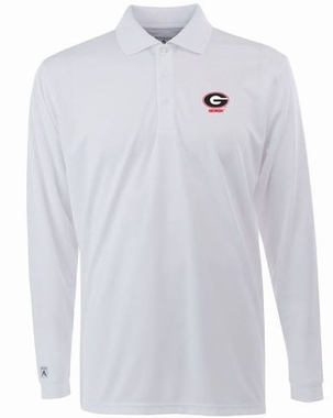 Georgia Mens Long Sleeve Polo Shirt (Color: White)