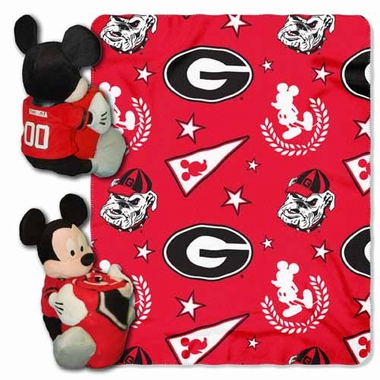 Georgia Mickey Mouse Pillow / Throw Combo