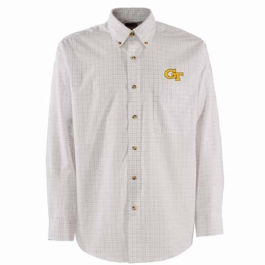 Georgia Tech Mens Esteem Check Pattern Button Down Dress Shirt (Color: White)