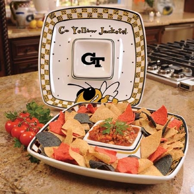 Georgia Tech Gameday Ceramic Chip and Dip Platter
