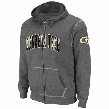 Georgia Tech Heathered Charcoal Blackout Full Zip Hooded Sweatshirt