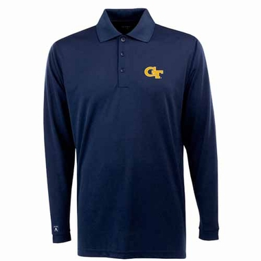 Georgia Tech Mens Long Sleeve Polo Shirt (Team Color: Navy)