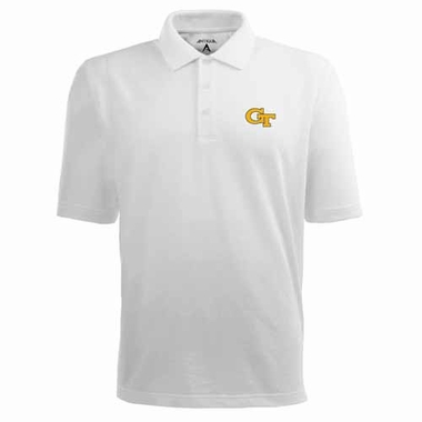 Georgia Tech Mens Pique Xtra Lite Polo Shirt (Color: White)