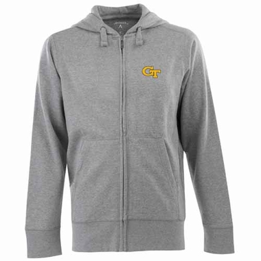 Georgia Tech Mens Signature Full Zip Hooded Sweatshirt (Color: Gray)