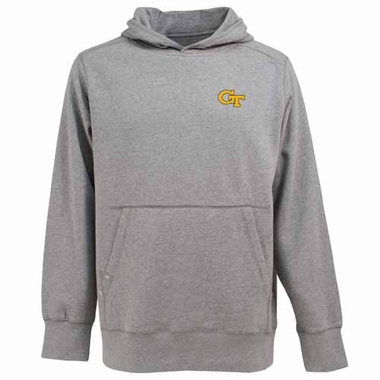Georgia Tech Mens Signature Hooded Sweatshirt (Color: Gray)