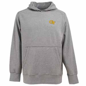 Georgia Tech Mens Signature Hooded Sweatshirt (Color: Gray) - Large
