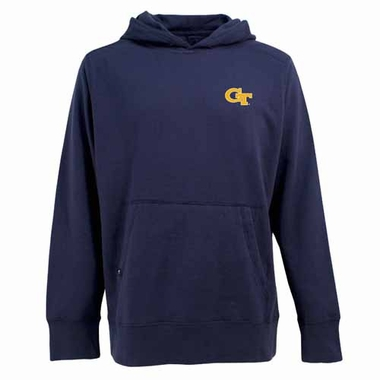Georgia Tech Mens Signature Hooded Sweatshirt (Color: Navy)