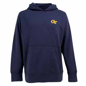 Georgia Tech Mens Signature Hooded Sweatshirt (Color: Navy) - Small