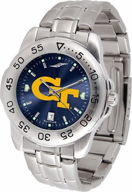 Georgia Tech Sport Anonized Men's Steel Band Watch