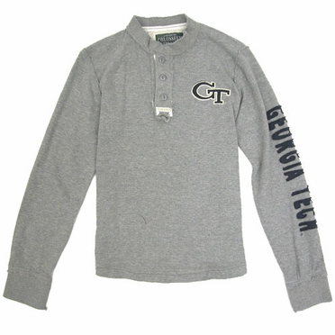Georgia Tech Waffle Knit Henley Long Sleeve Shirt