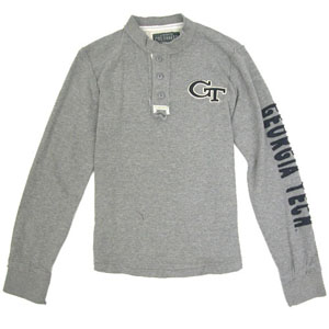 Georgia Tech Waffle Knit Henley Long Sleeve Shirt - Large