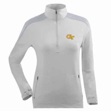 Georgia Tech Womens Succeed 1/4 Zip Performance Pullover (Color: White)