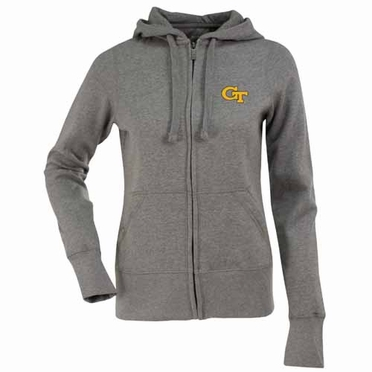Georgia Tech Womens Zip Front Hoody Sweatshirt (Color: Gray)
